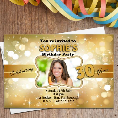 10 Personalised Gold Glitz Birthday Party PHOTO Invitations N151